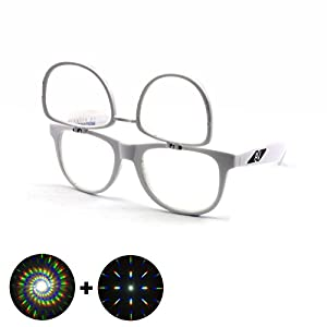Flip Up Double Diffraction Glasses - White