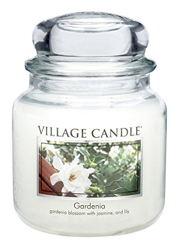 Village Candle Gardenia 16 oz Glass Jar Scented Candle, Medium (Jar Blossom 16 Ounce)