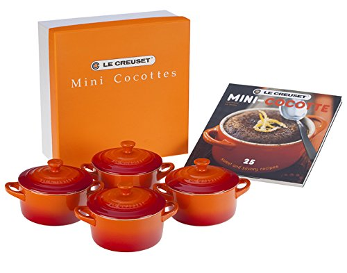 Le Creuset Set of 4 Mini Cocottes with Cookbook, Flame
