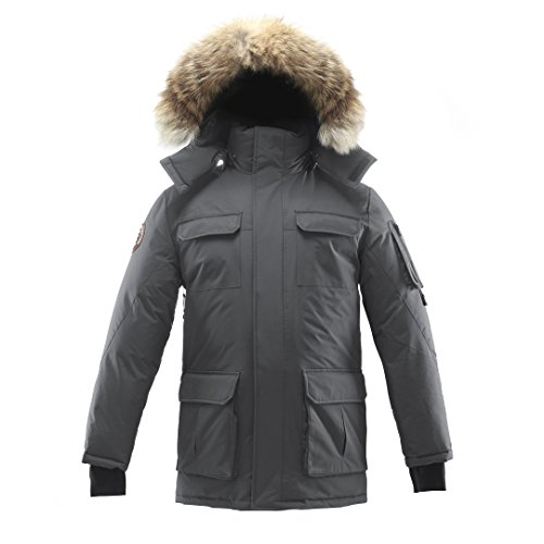 Triple F.A.T. Goose Chenega Mens Goose Down Jacket Arctic Parka with Real Coyote Fur (X-Large, Grey)