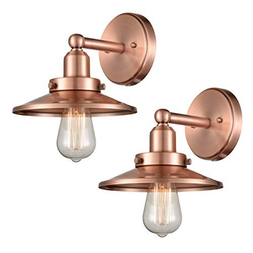 (WILDSOUL 40011AC-2 Industrial Vintage Wall Sconce, Antique Copper Finish Modern Farmhouse Wall Light Fixture, 1-Light, LED Compatible, Pack of 2)