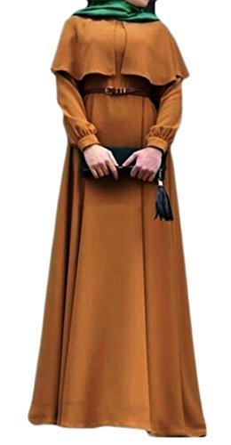 Cromoncent Femmes Poncho Musulman Châle Dubai Manches Longues Couleur Unie Abaya Longue Robe Jaune