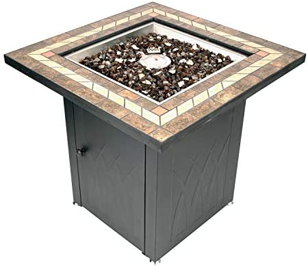 Pleasant Hearth OFG824T Atlantis Table Gas fire Pit, Matte Black Tile Top