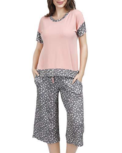 - Summer Pajamas for Women - Stylish Print Ladies Pajama Set, Oversized Shirt Capri Lounge Pants Ditsy Floral X-Large