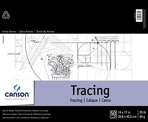 "Canson Foundation Series Tracing Pad, 14"" x 17"", Fold-over Cover, 50 Sheets (100510962)"