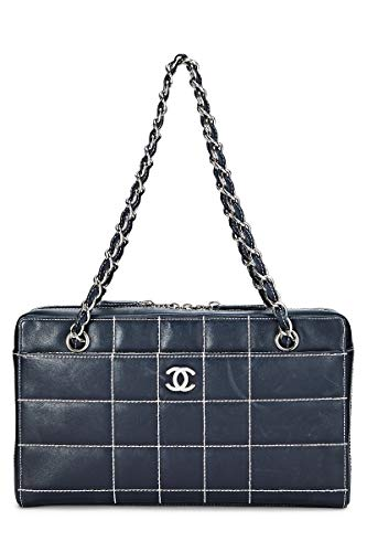 Chanel Real Leather - CHANEL Black Leather Chocolate Bar Shoulder Bag (Pre-Owned)
