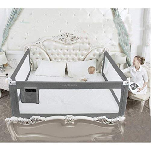3 Set King (2 Set for 2 Length Side of The Bed and 1 Set for Feed Size of The Bed) Size Bed Safety Bed GuardRail Bed Fence for Children, Toddlers, Infants - Grey Color 1
