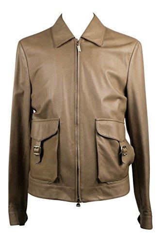 brioni Brown Leather Zip-Up Bomber Jacket Size (Brioni Jacket)
