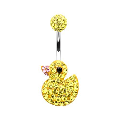 Cute Rubber Duck Multi-Sprinkle Dot 316L Surgical Steel Belly Button Ring Animal Dangling Belly Button Ring