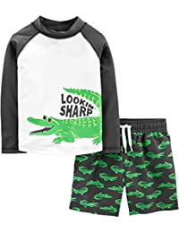Boys' Toddler 2-Piece Swimsuit Trunk and Rashguard, Green Alligator, 5T