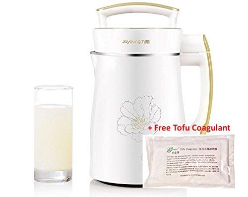 BONUS PACK! Joyoung DJ13U-D08SG Easy-Clean Automatic Hot Soy Milk Maker (Full Stainless Steel Design) with FREE Tofu Coagulant