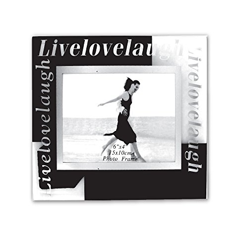 Rockin Gear Photo Frame 'Live Laugh Love' Glass 4x6 Picture Frame - Home Decor for Wall and Tabletop - Holds a 4 by 6 ()