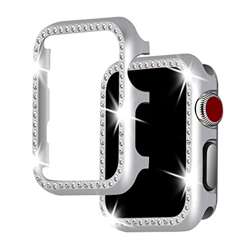 (For Apple Watch Case 42mm, Falandi Apple Watch Face Case with Bling Crystal Diamonds Plate iWatch Case cover Protective Frame for Apple Watch Series 3/2/1 (Silver-Diamond, 42mm))