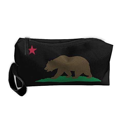 California Bear Flag Makeup Bag Zipper Organizer Case Bag Co