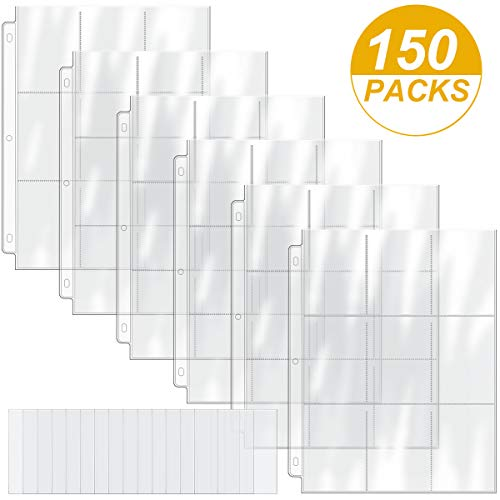 450 Pockets Card Binder Pages with 100 Pieces Trading Card Sleeves Protectors, Standard Size