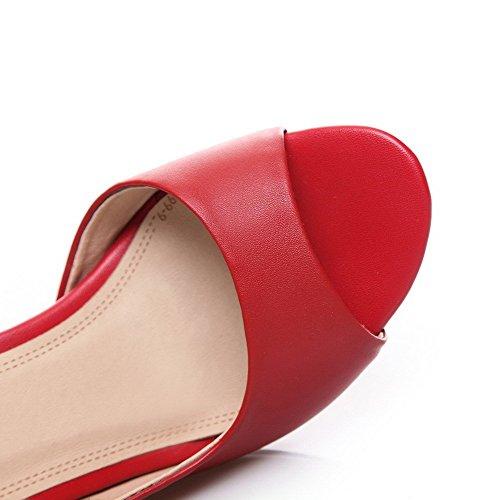 AllhqFashion Mujeres Cuero Sólido Hebilla Peep Tacón ancho Sandalia Rojo