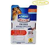 Adams Plus Flea & Tick Spot On for Dogs with Reusable Applicator Medium Dogs - 3 Month Supply - (Dogs 15-30 lbs) - Pack of 12