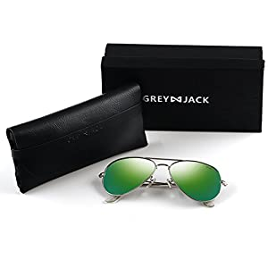 GREY JACK Polarized Classic Aviator Sunglasses Military Style for Men Women Silver Frame Green Lens Large