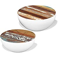 White Solid Reclaimed Wood Storage Coffee Table Round Bowl Shape Home Decor, Set of 2