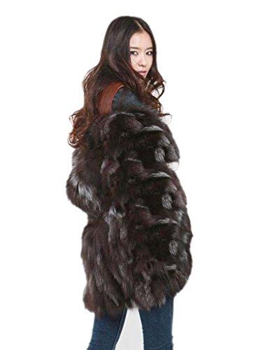 YR.Lover New Women 100% Real Silver Fox Fur Coat Jacket Winter