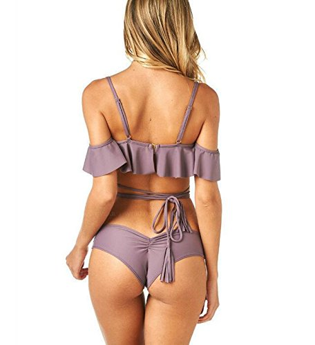 Swimsuit Bagno Vita Casual Costume Spalla Costumi Mare Da Di Off Spalla Purple Moda Parola Con Spiaggia Volant Up Alta Due Pezzi Donna Estate Abbigliamento Bikini C6g65w