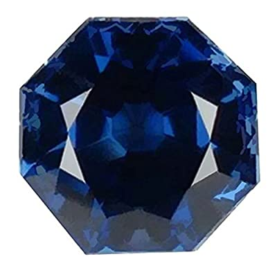 Blue Created Sapphire Sq Octagon Unset Loose Gemstone 9mm by ugems