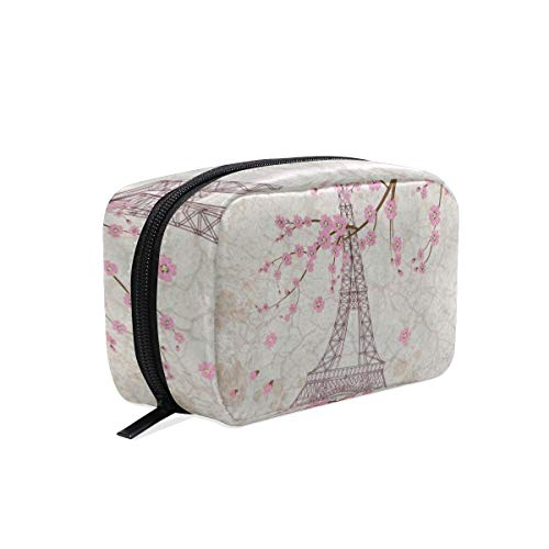Makeup Organizer Vintage Eiffel Tower Cherry Womens Zip Toiletry Bag Large Case Cosmetic Bags