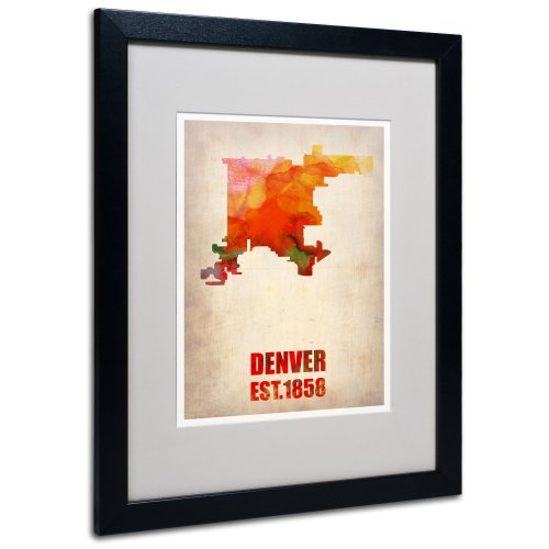 Denver Watercolor Map by Naxart Matted Framed Art, 16 by 20-Inch, Black Frame from Trademark Fine Art
