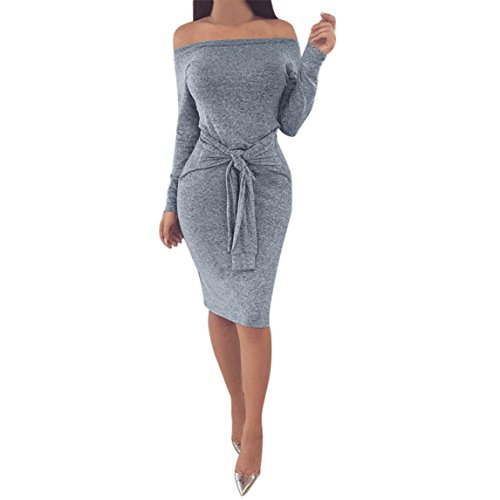 Nadition Sexy Dress Clearance !!! Women Winter Bodycon Off The Shoulder Long Sleeve Evening Party Mini Dress (Gray, XL)