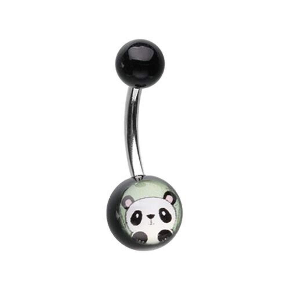 Peeking Panda Acrylic Logo WildKlass Belly Button Ring