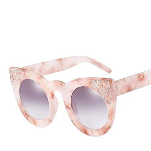 Aoligei Lunettes de soleil fashion européens et américains grand cadre réflectorisé marée luxe femelle diamant lunettes cool H