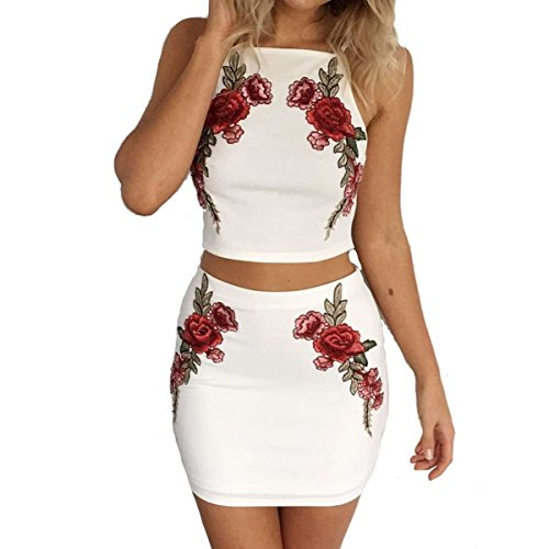 Leezeshaw Womens Floral Embroider Crop Top Mini Skirt Outfit Two Piece Dress