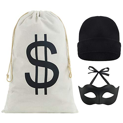 Robber Costumes Halloween (Auihiay Robber Costume Include 17 x 11 inch Dollar Sign Bag Bandit Eye Mask Black Knit Hat for Burglar Halloween Costume Thief Cosplay Props Bank Robber)