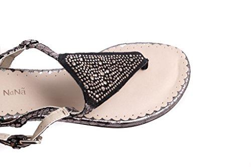 Nadia Pretty Flatform Donna Infradito Camoscio sandalo Nana Strass 102701 Nero TqSw87Tp