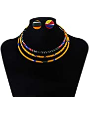 African Print Dashiki Tradition Cloth Braided Necklace African Style Collar Choker Collar Women's Necklace Set