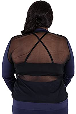Poetic Justice Plus Size Women's Curvy Fit Navy Zip Up Activewear Tracksuit Jacket