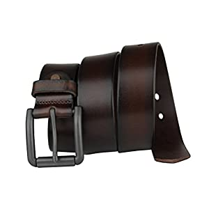 Bullko Men's Genuine Leather Belt Brown Casual Jean Belts for Men 34-36inch