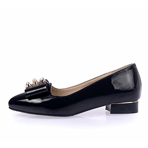 cuir nœud Noir avec enfiler métal brevet shoes en pumps Mesdames pointed balamasa en toe à cTIRqUPyW