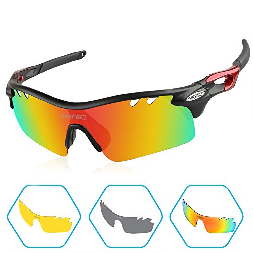 AKASO Men's Tripolar Sport Sunglasses,3 Polarized Interchangeable Lenses,100% UV Protection,Cycling Sunglasses - Impact Sunglasses Resistant