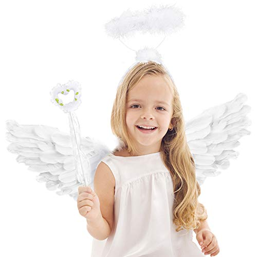 Angel Wings and Halo White Feather Wing Kids for Adult Party Costume Childrens Boys Girls Christmas Unique Gift (White Angel Wings and Halo and Angel Wand)