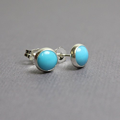 Turquoise Sterling Silver Stud (Blue Turquoise Stud Earrings-6mm all Sterling Silver)