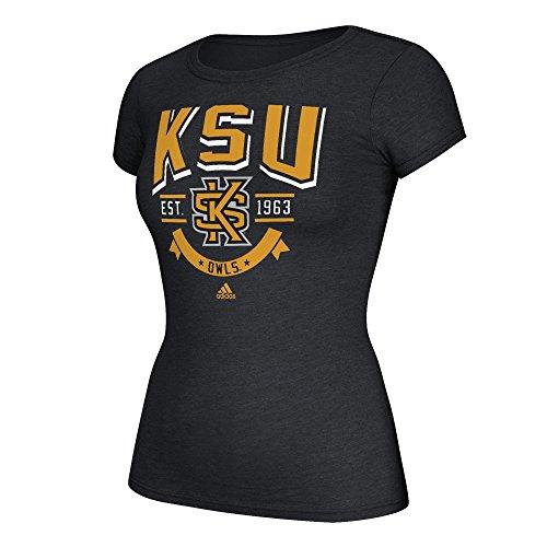 NCAA Kennesaw State Owls Adult Women Top Bridge Arch Cap Sleeve Tee, Medium, Black ()