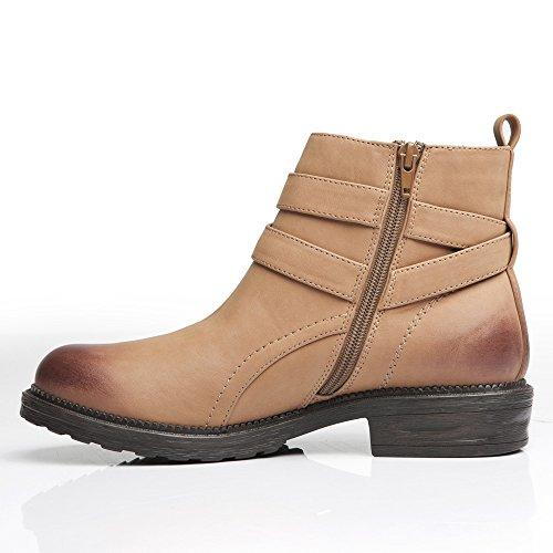 LiKing 16-002 Damen Boots Stiefeletten Braun
