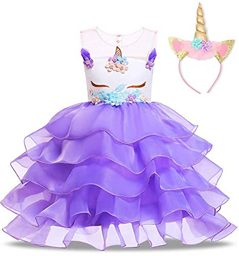 (NNJXD Flower Girls Unicorn Costume Pageant Princess Party Ruffles Dress with Headband Size (100) 2-3 Years Purple )