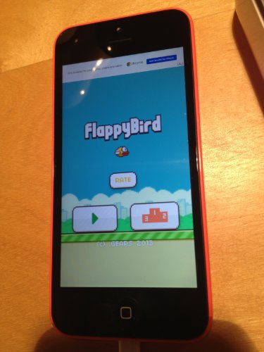 iPhone 5c with Flappy Bird