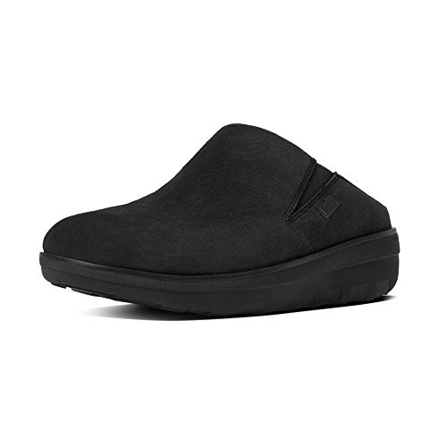 Clogs Athletic Slip (FitFlop Womens Loaff Suede Slip On Clog Shoes, Black, US 5)