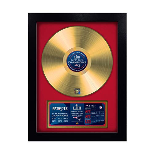 Celebrates New England Patriots Framed - TSV Authentic NFL New England Patriots Super Bowl LIII Champions Gold Record, Red, 16.5-inches x 21.5-inches