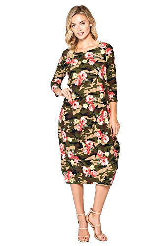 12 Ami Solid 3/4 Sleeve Bubble Hem Pocket Midi Dress Camo Floral ()