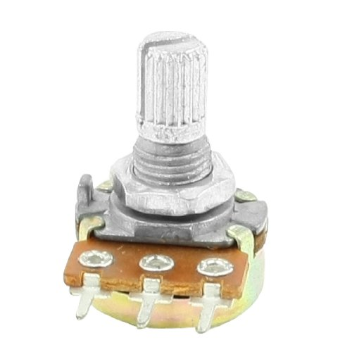 Uxcell Split Knurled Shaft Rotary Linear Taper Potentiometers, 3 Pins, 50K Ohm, 6 (Knurled Pins)