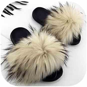 fc7acf2f4 fantasticlife06 Real Raccoon Fur Slippers Women Sliders Casual Fox Hair Flat  Fluffy Fashion Home Summer Big
